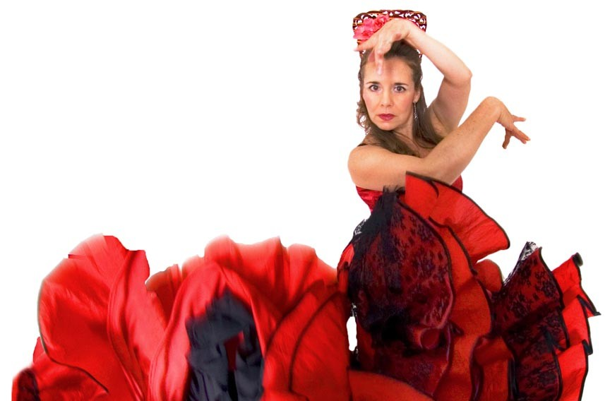 Latin Ballet's Ana Ines King dances with a bata de cola dress, a traditional costume from Spain. - PAIGE STEVENS