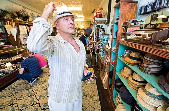 Local actor Matt Beyer hat shopping at Bygone's. - ASH DANIEL