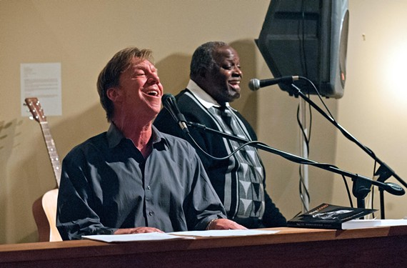 "Longtime local musician Steve Bassett, seated, is backed up by veteran singer Cornell Jones on the tune ""Good Woman Bad"" at Glave Kocen gallery. Bassett's interesting and varied career has taken him from Muscle Shoals and ""Austin City Limits"" to Carnegie Hall."