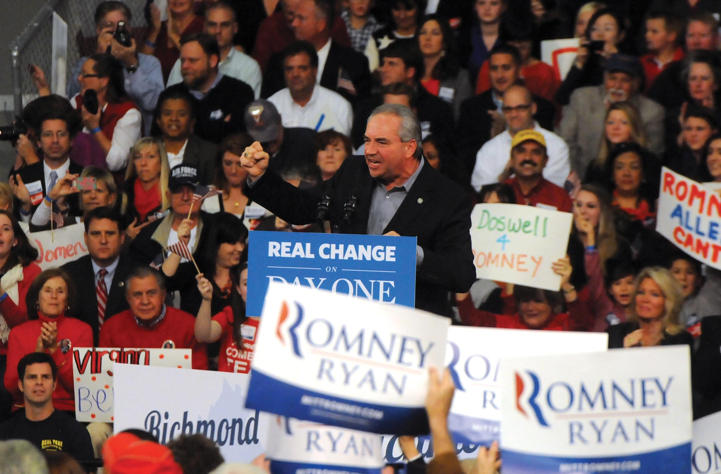 Lt. Gov. Bill Bolling, at a rally for Mitt Romney in Caroline County last year, had all eyes on him when he weighed — and then shelved — his gubernatorial ambitions. - SCOTT ELMQUIST