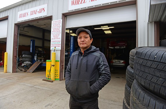 Luis Pardo is growing the tire shop business he bought. He says city economic development officials stopped by recently but nothing came of it. - SCOTT ELMQUIST