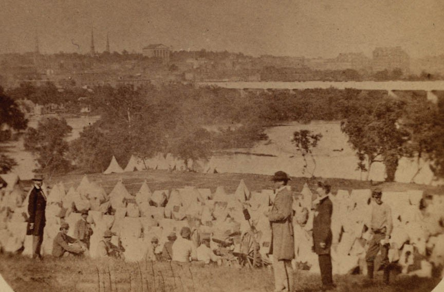 Maj. Thomas P. Turner, center in felt hat, was commandant of the Confederate prison encampment on Belle Isle. - LIBRARY OF CONGRESS
