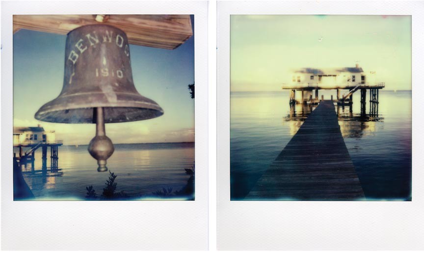 """Manipulated Polariods, """"Captiva, Bell and Dock,"""" ( 2012) are part of the immersive new exhibit by acclaimed sound artist and Virginia Commonwealth University faculty member Stephen Vitiello, which explores the setting of Captiva, Fla."""
