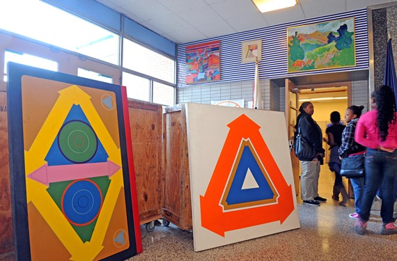 Martin Luther King Jr. Middle School recently displayed some of the artwork orphaned by Richmond Public Schools in the demolition of the district's former humanities center two years ago. The paintings have since been put back in storage.