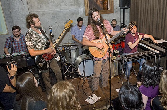 "Matthew E. White and his backup band play Balliceaux at the ""Big Inner"" release party July 24. - ASH DANIEL"