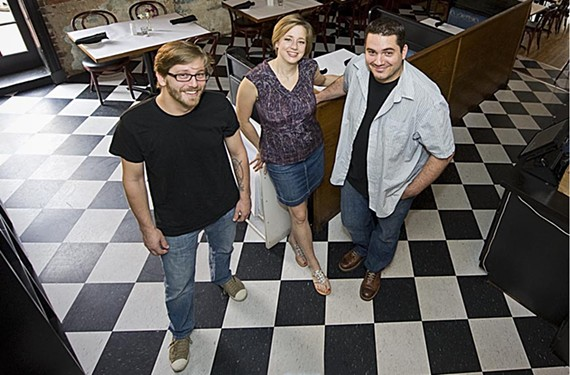 Mattias Hagglund, Emilia and Joe Sparatta are finalizing details for Heritage, their new restaurant, to replace Six Burner - ASH DANIEL