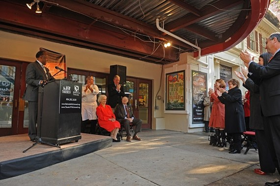 Mayor Dwight Jones introduces Sara Belle and Neil November outside Theatre IV Tuesday morning.