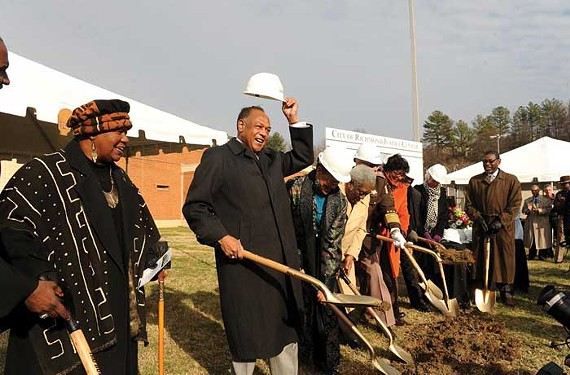 Mayor Dwight Jones is all smiles at last week's groundbreaking for the new city jail. But will it transfer to political points? - SCOTT ELMQUIST