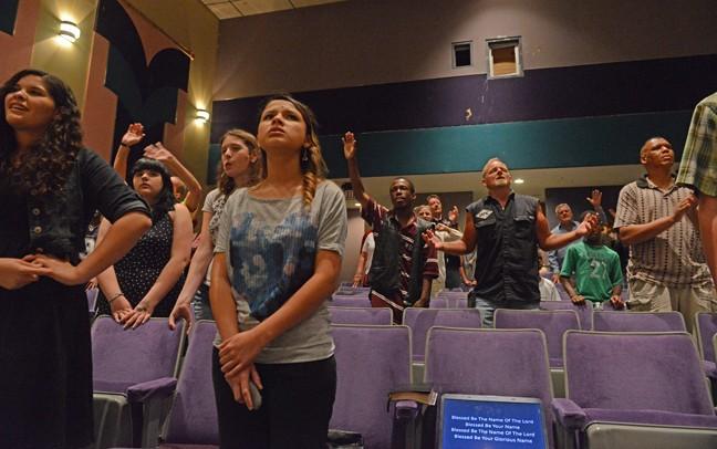Members of True Vine sing during a recent service. - SCOTT ELMQUIST