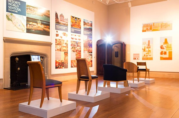 Michael Graves-designed chairs, on display at the Virginia Center for Architecture, reflect classical influences from the architect's European studies. - STEPHANIE YONCE