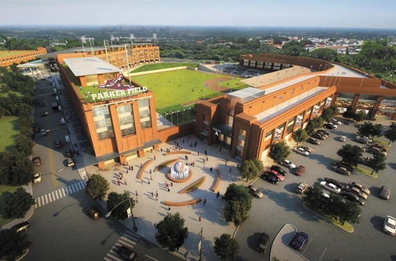 Midlothian-based developer Rebkee Co.'s rendering of a red-brick baseball complex on the Boulevard.