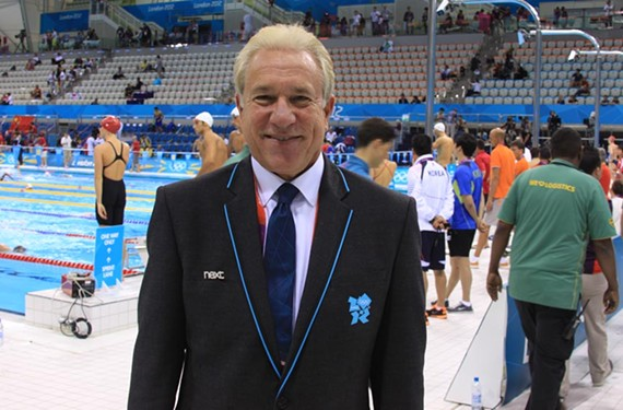 Midlothian physician Jim Miller watched Michael Phelps win his 18th gold medal at the Olympic pool in London.