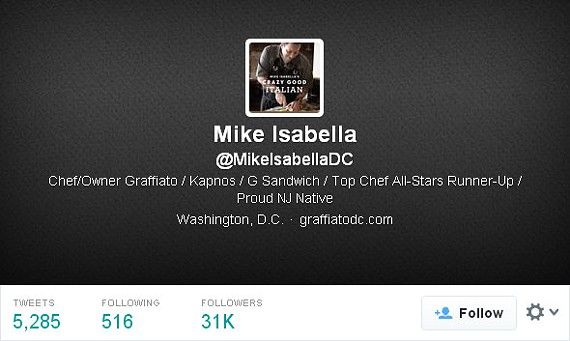 Mike Isabella's official Twitter account is @MikeIsabellaDC.