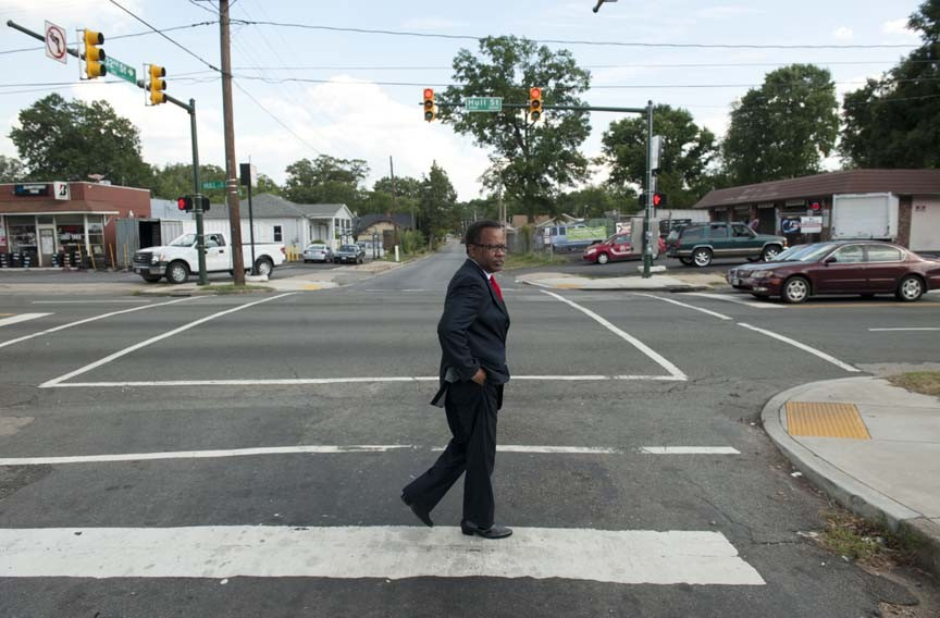 Mr. Brown's neighborhood: Preston T. Brown surveys south Richmond, which he hopes will help elect him to state Senate. - SCOTT ELMQUIST
