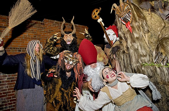Nicole Pisaniello, cowering in the lower right, is one of the co-founders of the inaugural RVA Krumpusnacht. The Krampus beasts are sent to punish bad little boys and girls.