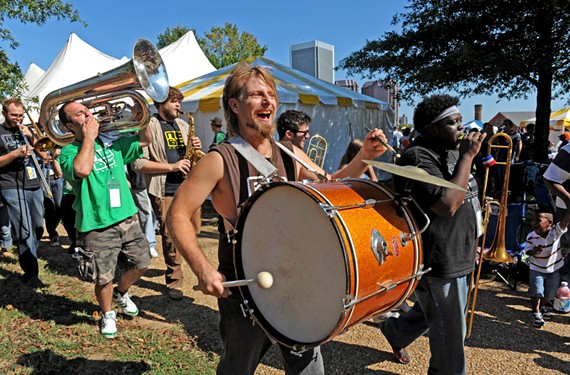 No BS! Brass takes the party on the march, leading a kid-focused kazoo parade at the Richmond Folk Festival: Stefan Demetriadis, David Hood, Lance Koehler, Dillard Watt and Reggie Pace. The band also was featured in the 2010 festival lineup. - SCOTT ELMQUIST