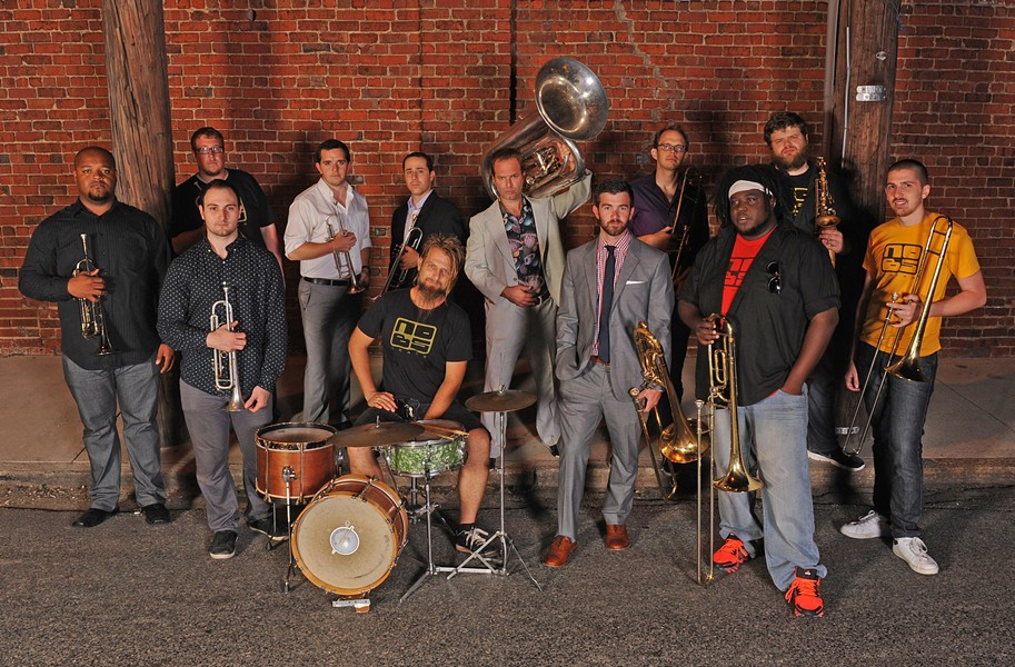 No BS collectively has decades of conservatory training, a master's degree and a doctorate. Members include touring artists (Pace, Quallich), a successful small-business owner (Koehler) and a financial analyst (Watt). Some members tour, most teach and all play with commitment. Front row: Tenney, Koff, Koehler, Watt, Pace and Hully. Back row: Quallich, Court, Barnett, Demetriadis with tuba, Hooten and Hood. - SCOTT ELMQUIST