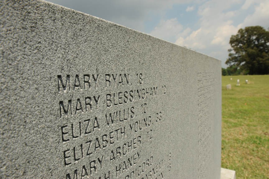 No stone can be found at Mary Ryan's grave in Hollywood Cemetery, but her name is recorded in Oakwood Cemetery on a monument to the victims of the explosion. - SCOTT ELMQUIST