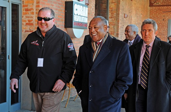 Officials who attended the Jan. 8 tour of the area around the Durham Bulls ballpark in North Carolina include Todd Parnell, vice president and chief operating officer for the Richmond Flying Squirrels, Mayor Dwight Jones and Lee Downey, director of Economic and Community Development.