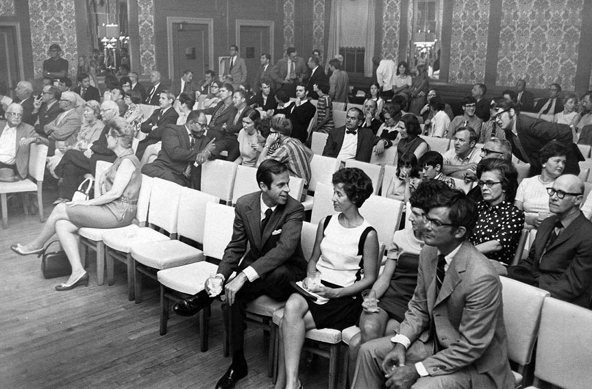 On election night, June 10, 1970, people gather at the John Marshall's Roof Garden to watch City Council election returns. - VALENTINE RICHMOND HISTORY CENTER