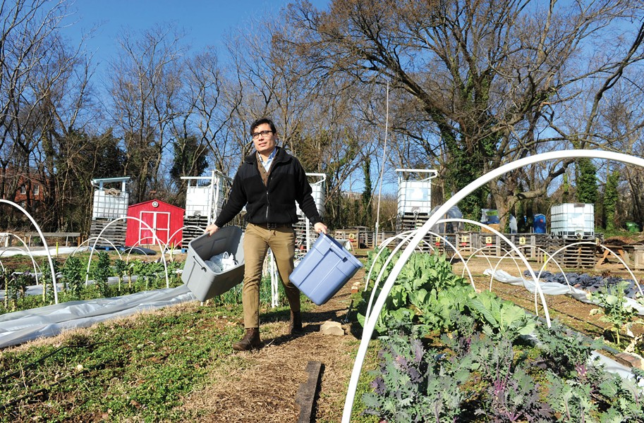 On Relay's morning run, Justin Hla-Gyaw picks up fresh-cut kale and greens at Tricycle Gardens in Manchester. - SCOTT ELMQUIST