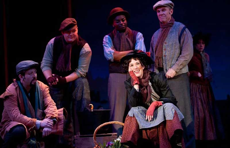 """On the street where you live: Stacey Cabaj is Eliza Doolittle in Barksdale's serviceable production of Lerner and Loewe's classic """"My Fair Lady."""" - AARON SUTTEN"""