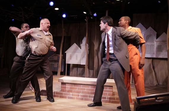 "Order in the court: Jeremy Howard, David Bridgewater, Adrian Rieder and Ronnie Brown get riled up in Barksdale's ""Scorched Earth."" - JAY PAUL"