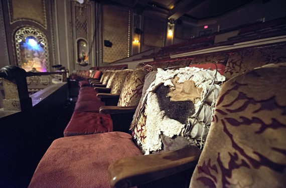 Original mohair-backed seats in the Byrd can be found in the balcony. The Byrd's restoration plan culminates with all seats being restored and updated for modern audiences — with only the original end caps remaining. The foundation's board president, Gibson Worsham, says the group may consider selling the old seats to raise money. - SCOTT ELMQUIST