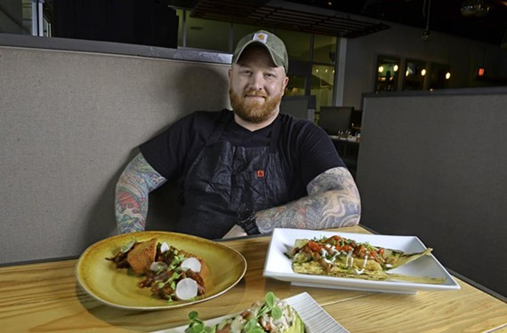 Owen Lane, chef and co-owner of the Magpie, teamed up with Estilo's Josh and Jessica Bufford to overhaul its menu and relaunch the restaurant with dishes that include roasted goat and pig-head tamale.