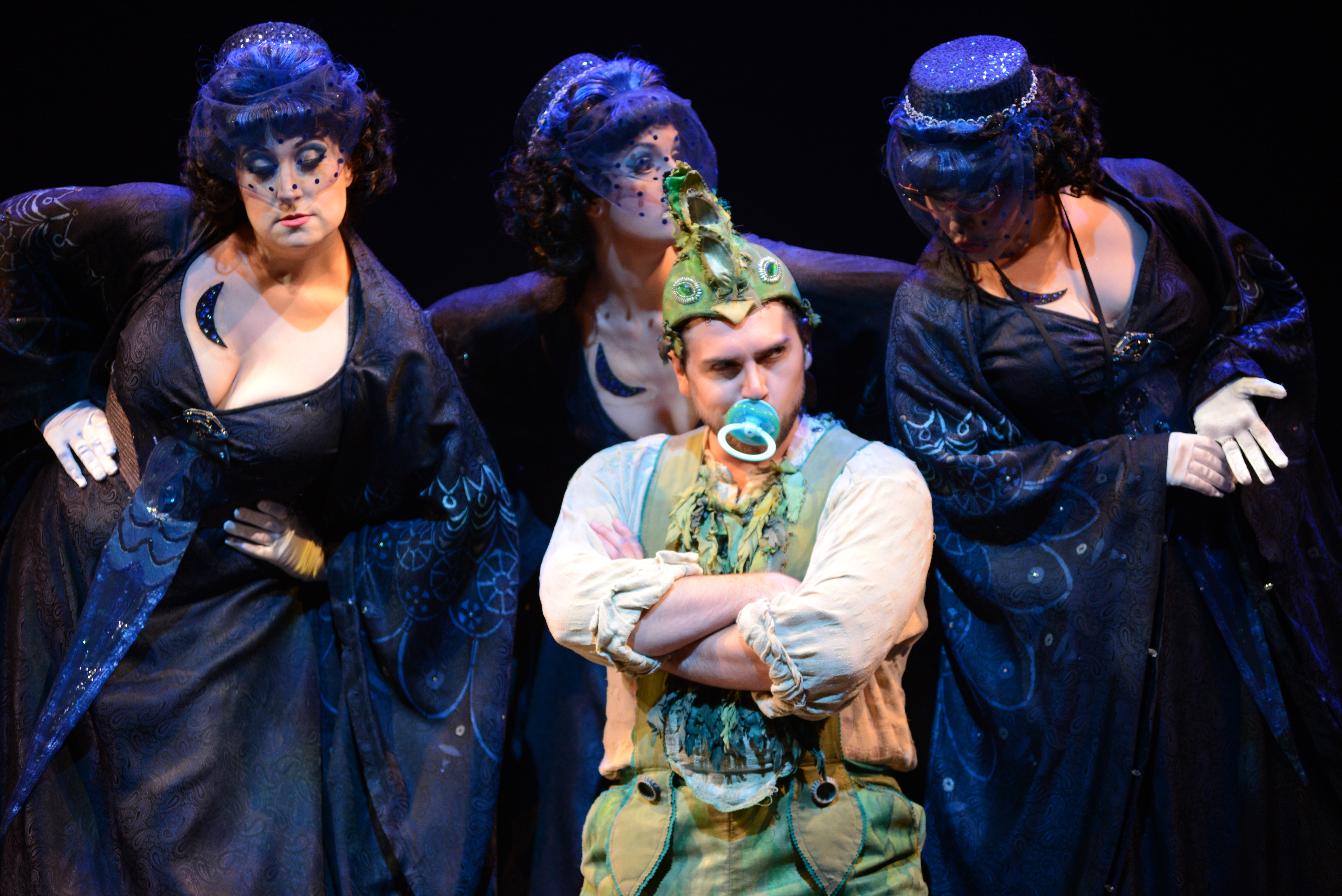 """Papageno (David Pershall) and The Three Ladies shown in Virginia Opera's """"The Magic Flute,"""" which will be performed at Richmond Centerstage's Carpenter Theatre this weekend. - DAVID BELOFF"""