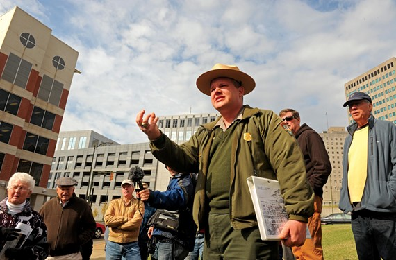 """Park ranger and historian Mike Gorman leads a Nov. 4 walk that follows Lincoln's tour of ruined Richmond. The resolution of the war was still uncertain, Gorman says: """"You don't know how this was going to end."""" - SCOTT ELMQUIST"""