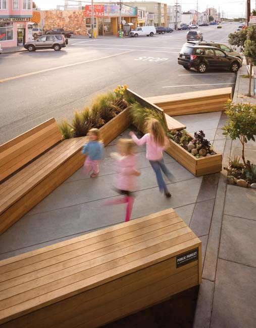 Parklets, which first appeared in San Francisco, convert street space into pedestrian space. At least two Richmond neighborhoods want to add the tiny parks to their streets. - SAN FRANCISCO PLANNING DEPARTMENT