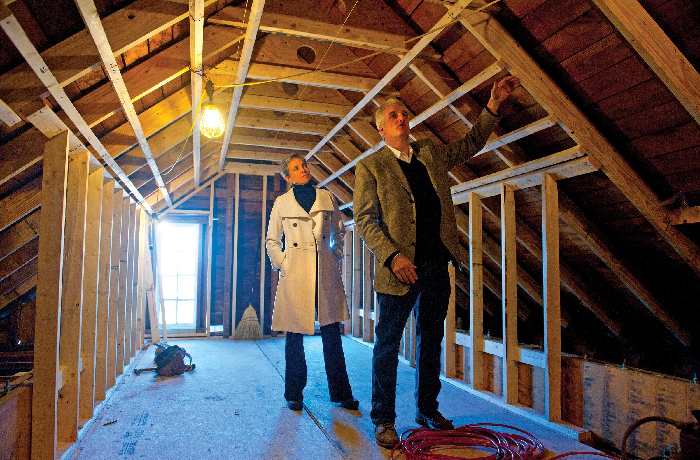 Paul and Julie Weissend inspect renovation progress on the third floor of Goshen, a historic Gloucester County farmhouse that dates to 1750 and where the overall project includes the drilling of geo-thermal wells. - SCOTT ELMQUIST