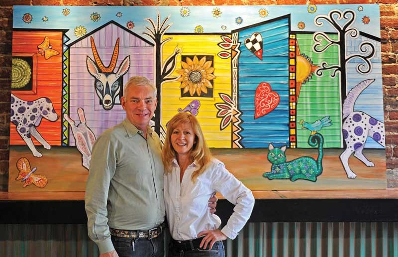 Paul Keevil and Linda Lauby prepare to launch Tío Pablo, a tamale kitchen with tequila around the corner from LuLu's in Shockoe Bottom. Lauby's murals are transforming the space for the third time in five years, into something more mystical. - SCOTT ELMQUIST
