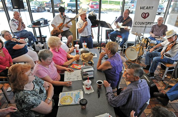 "People have a hard time believing Heart of County plays at a Hardee's, lead guitarist J.C. Williams says. ""Come out and listen to us,"" he tells them. ""You'll be impressed."""