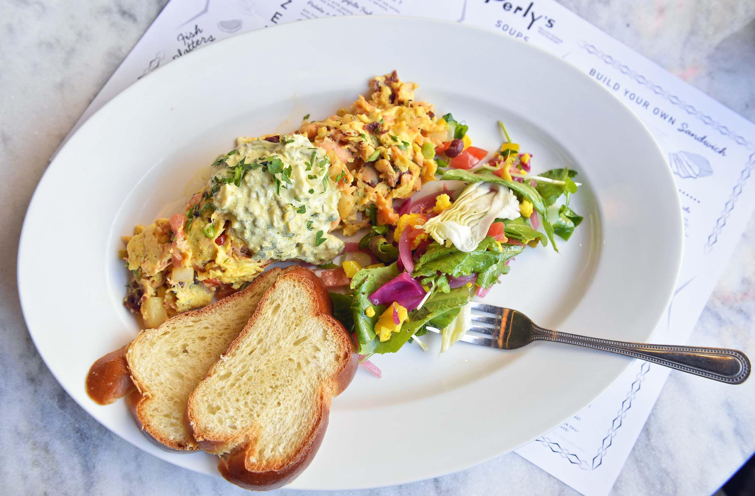 Perly's avoids pork with the Fillmore fry, a beef bacon and kippered salmon scramble. - ASH DANIEL