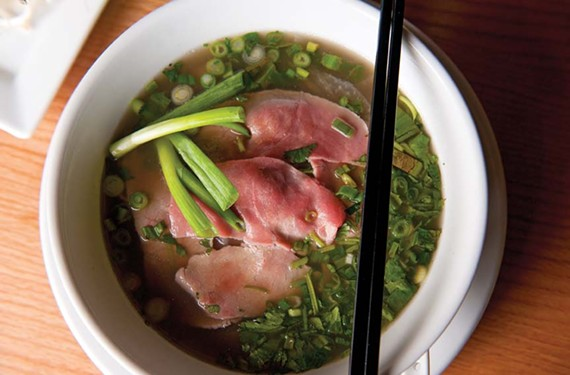 Pho tai chin, a complex broth with eye of round and brisket, is consistently well prepared at Pho Saigon. - SCOTT ELMQUIST