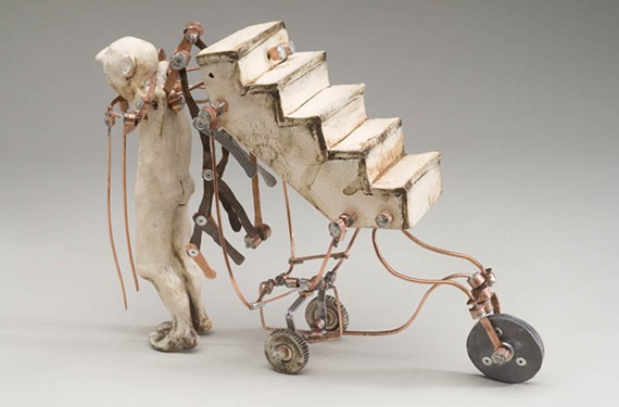 """Pictured: """"Hauls The Leap"""" (2009) ceramic and mixed metals by former Richmond artist Aggie Zedd, who currently lives in Gordonsville, Va. with her husband and chickens."""