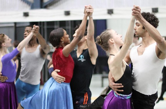 Pirouettes on the prairie: From left Richmond Ballet's Lauren Fagone and Thomas Ragland, Lydia Philips and Ariel Rose, and Cody Beaton and Fernando Sabino. - SARAH FERGUSON