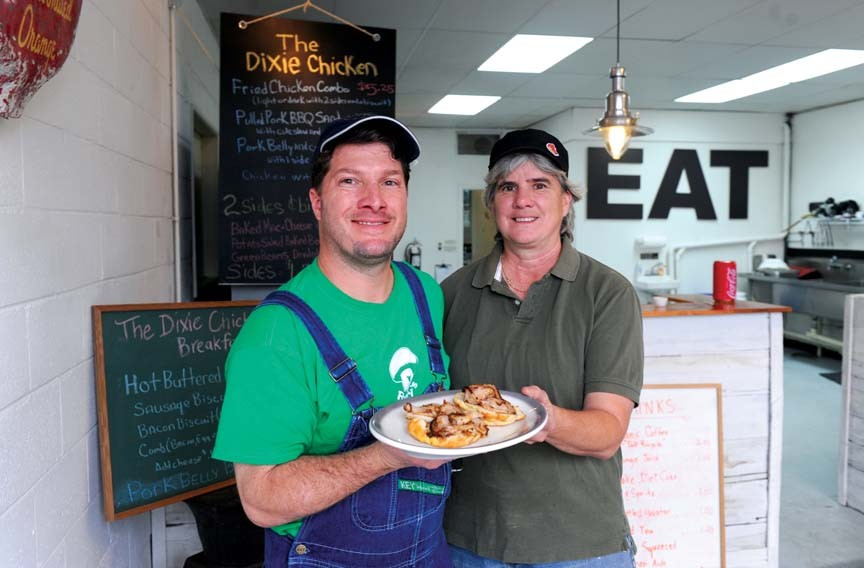 Pork belly gets some attention at the Dixie Chicken in Westover Hills, where co-owners Todd Brady and Sheila Wilkins give credit to their friend and landlord Jocelyn Senn for nudging the business into reality. - SCOTT ELMQUIST