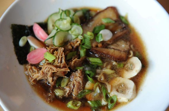 Pork ramen at Manchester's new Ejay Rin blends pulled pork, pork belly, poached egg, fishball nori, scallion, pickled vegetables and pork broth; lunch portion is $8; dinner is $12. - SCOTT ELMQUIST