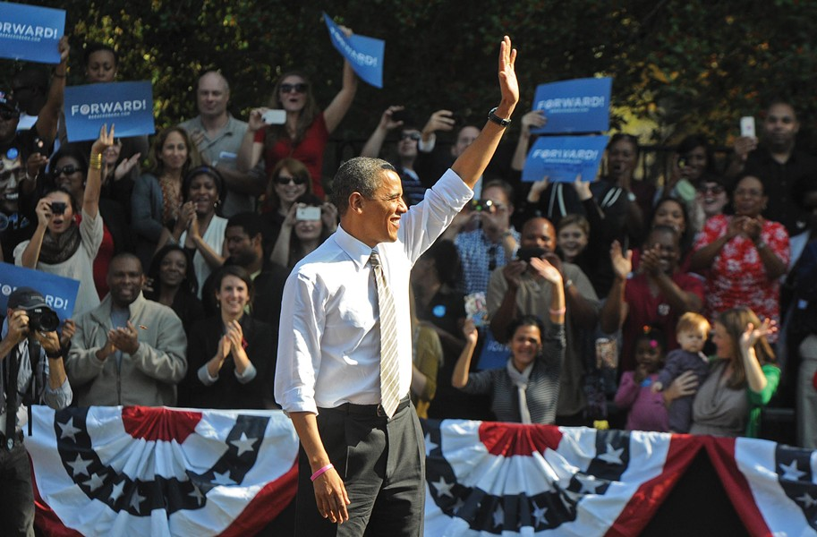 President Obama stops by the Carillon Thursday to spring hope on thousands of suffering supporters - BY SCOTT ELMQUIST
