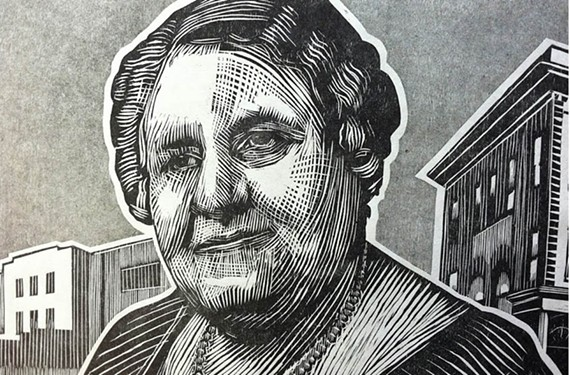 Printmaker Barry O'Keefe hopes to raise money with his woodcut portraits of such historic figures as businesswoman and teacher Maggie L. Walker.