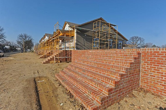 Progress is slow on Habitat for Humanity's 15-house development, the Pillars at Oakmont, shown here in March. - SCOTT ELMQUIST