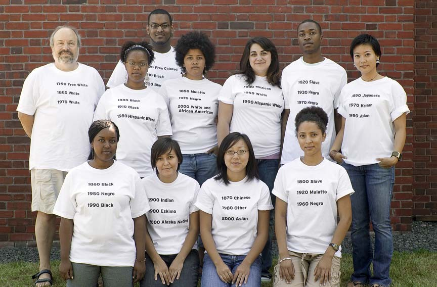 """Race is a social construct."" This photo from the Science Museum exhibit shows college students wearing T-shirts emblazoned with racial categories. - AMERICAN ANTHROPOLOGICAL ASSOCIATION AND SCIENCE MUSEUM OF MINNESOTA"