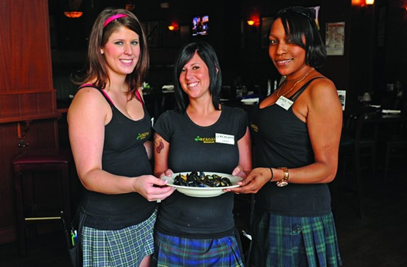 Rachel Weidmann, Sarah Bushey and Erin Eley put the cute in kilts. - SCOTT ELMQUIST