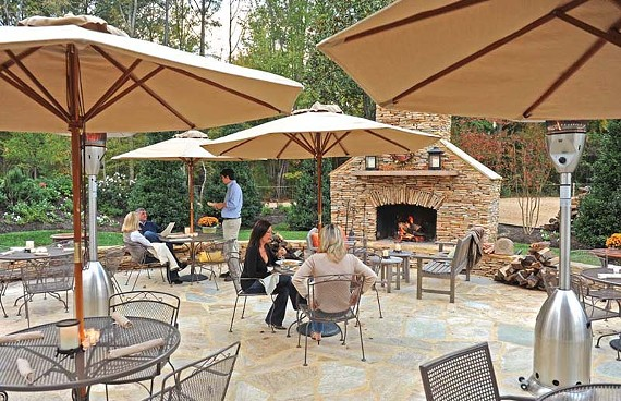 Radiant heat beneath the terrace at Portico. A fireplace and lap robes will allow the 40-seat spot to be an eventual cold weather option for cognac and s'mores. - SCOTT ELMQUIST