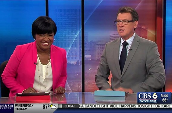 "Reba Hollingsworth of ""CBS-6 This Morning"" cracks up with her co-anchor, Rob Cardwell."