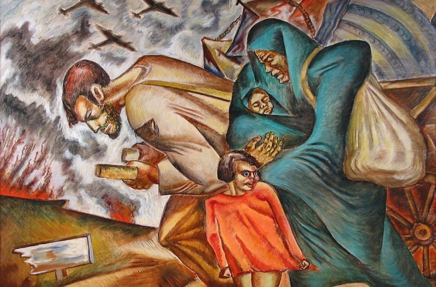 """""""Refugees"""" (1938), an oil painting by Leon Bibel, who worked with themes involving social conditions of workers and the politics of war during the Great Depression."""