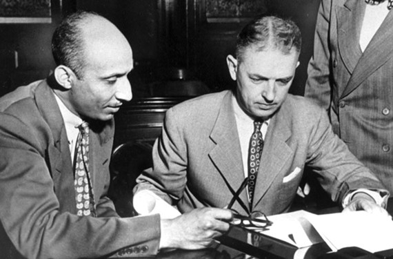 Richmond civil- rights lawyer Oliver Hill, shown with fellow Richmond City Councilman John S. Davenport in April 1949, stood up to the Hotel John Marshall's policy in the early 1940s of not allowing blacks to ride in the passenger elevators. - VALENTINE RICHMOND HISTORY CENTER